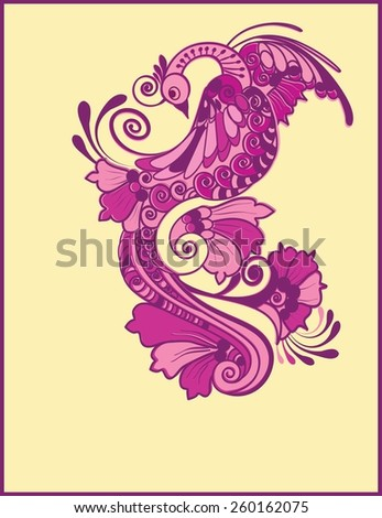 Magic fairy tale purple bird. - stock vector