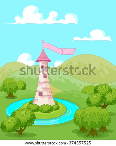 Magic fairytale tower rural landscape - stock vector