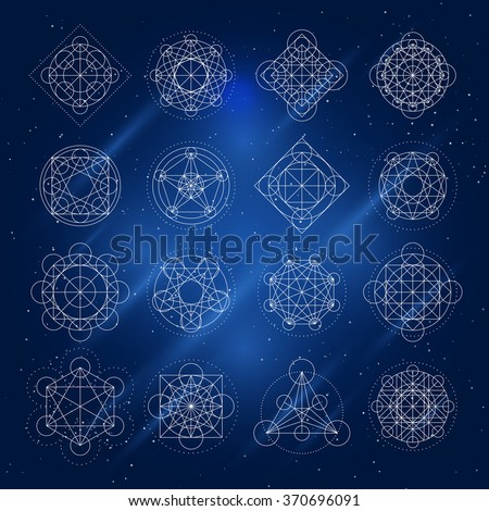 Magic geometry signs. Vector alchemy mystical symbols set on space background - stock vector