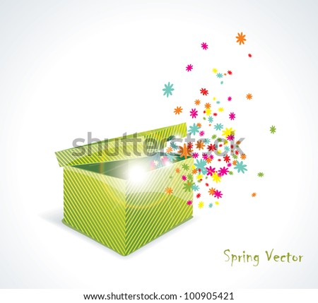 Magic gift box with flowers - stock vector