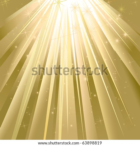 Magic Golden Light With Space For Text - stock vector