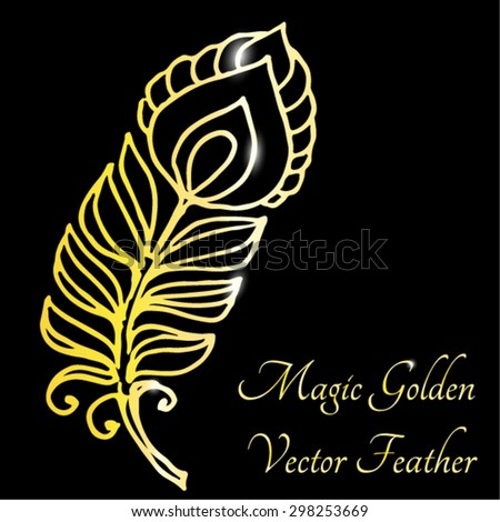 Magic golden peacock feather decorative element.