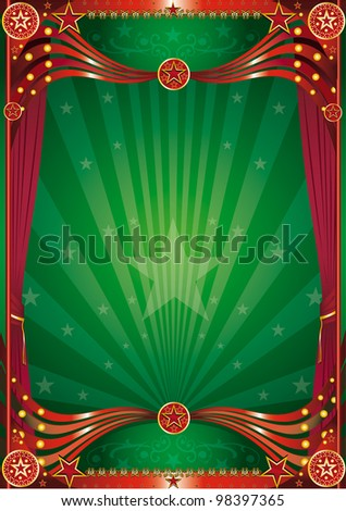 Magic green curtain background. A green background with red curtains for a poster - stock vector