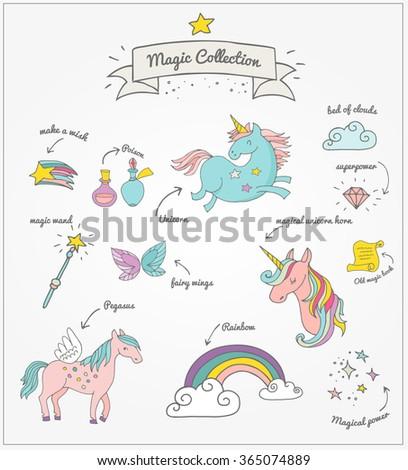 Magic hand drawn set - unicorn, rainbow and fairy wings - stock vector