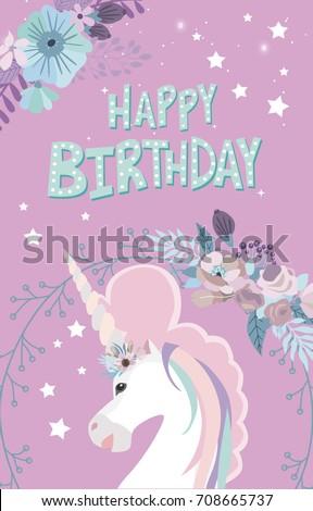Magic happy birthday greeting cards unicorn stock vector 708665737 magic happy birthday greeting cards with unicorn editable vector illustration m4hsunfo