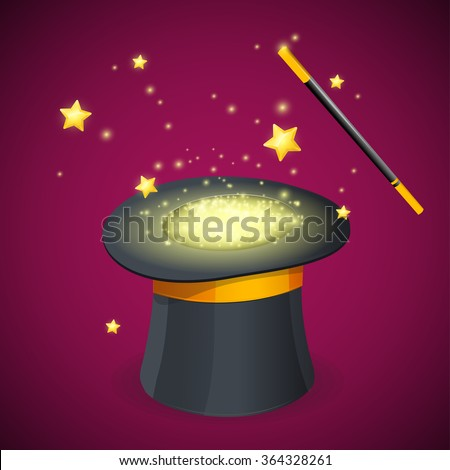 Magic Hat and Wand. The Concept Is Amazing. Vector illustration - stock vector