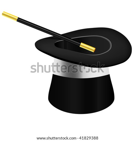 Magic hat and wand - vector file - stock vector