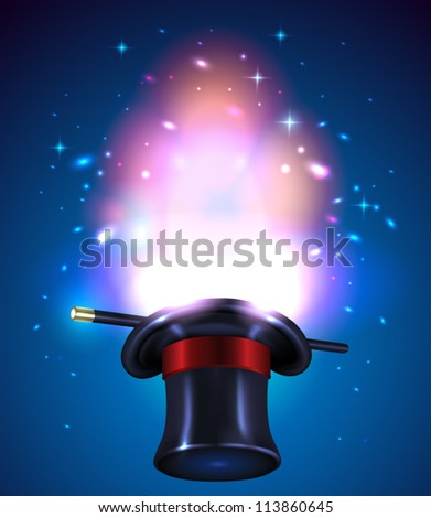 Magic hat and wand - vector illustration. - stock vector