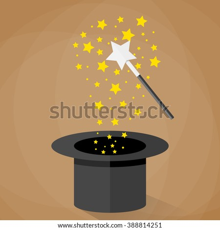 Magic hat and wand with sparkles and stars. vector illustration in flat design on brown background