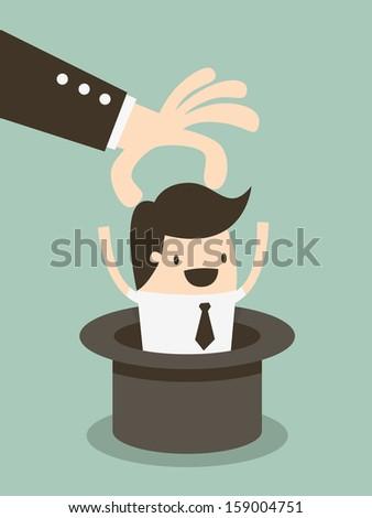 Magic hat employee - stock vector