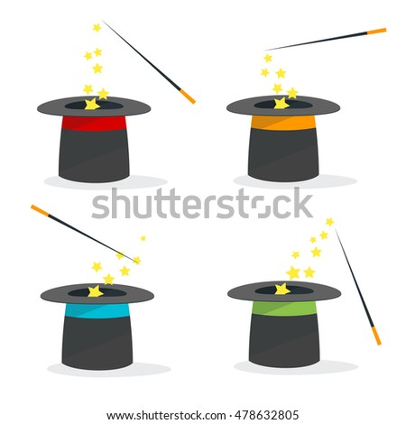 Magic Hat Set with a Wand. Flat Design Style. Vector illustration