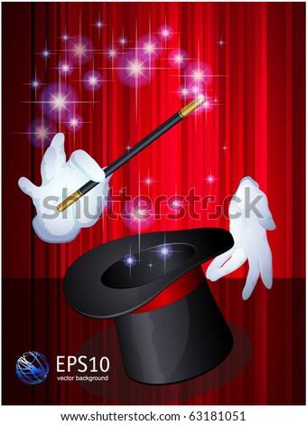 Magic hat. Vector. - stock vector