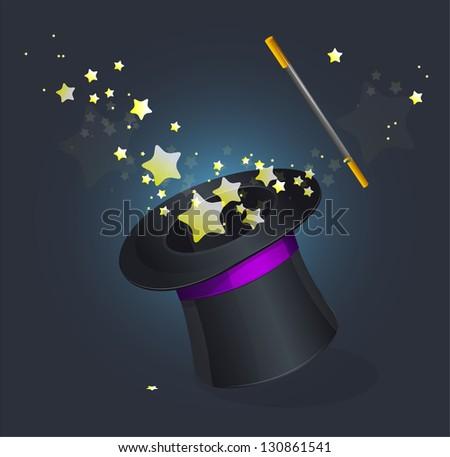 Magic hat vector on black - stock vector