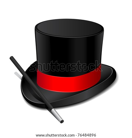 Magic hat with magic wand - stock vector