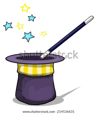 Magic hat with magic wand, vector illustration