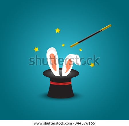 Magic hat with rabbit ears.Magic trick with rabbit ears appear from the magic top hat - stock vector