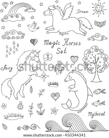 Magic Horses Cute Collection Unicorn Pegasus And Hippocampus Cartoon Vector Illustration Fairytale