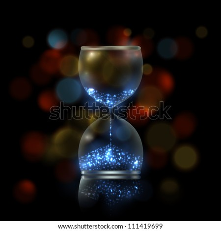 Magic hourglass with blue shiny flares inside, EPS10 vector - stock vector