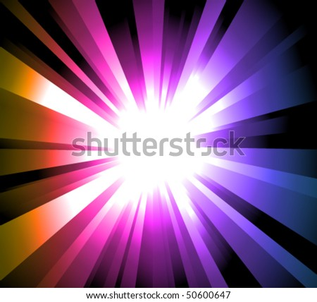 Magic Light Explosion with Rainbow gradient background