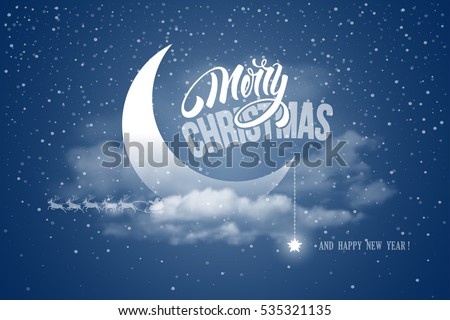 Magic Merry Christmas and Happy New Year night for greeting card. Half moon in clouds, stars and snowfall. Santa Claus and reindeers silhouette on moon background. Cute and unusual vector design.