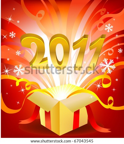 Magic new year box, vectro illustration for greeting card or banner - stock vector