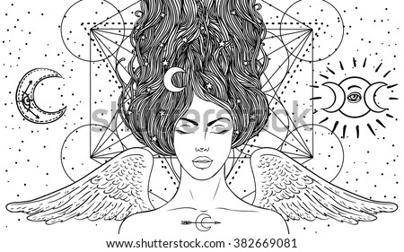 Magic night fairy. Hand drawn portrait of a beautiful  shaman girl with angel wings. Alchemy, religion, spirituality, occultism, tattoo art. Isolated vector illustration. Coloring book page for adults - stock vector