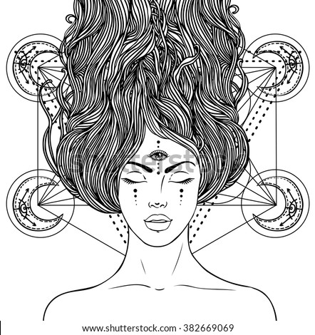 Magic night fairy with 3rd eye. Hand drawn portrait of a beautiful  shaman woman. Alchemy, religion, spirituality, occultism, tattoo art. Isolated vector illustration. . Coloring book page for adults. - stock vector