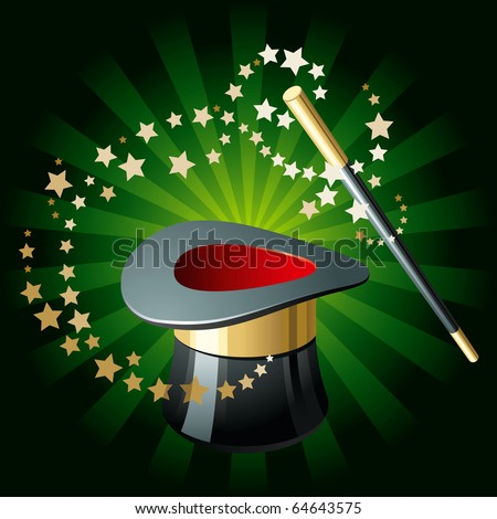 Magic Performance Attributes on Glowing Green Background - stock vector