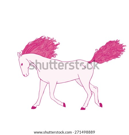 Magic pink horse. Tangle wavy mane and tail. - stock vector