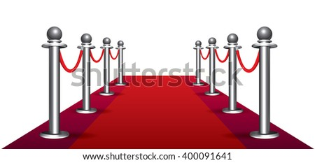 Magic red carpet loop on white background