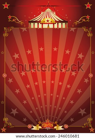 Magic red star circus poster. A vintage circus background with sunbeams for your entertainment - stock vector