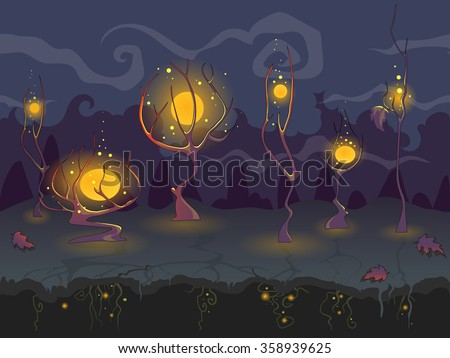 Magic seamless landscape in dark colors with mystic trees, separated layers for game design, vector background.