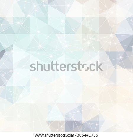 magic space constellation with stars and lights on a background of the triangles - stock vector