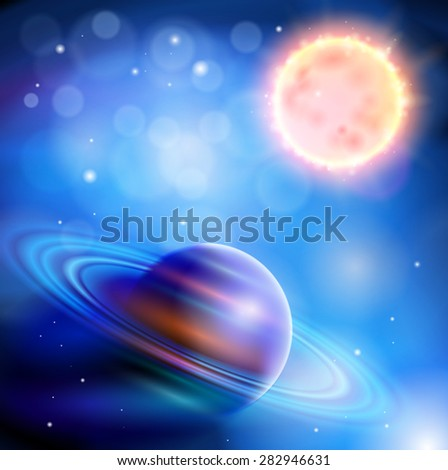 Magic Space - Planet with rings and a big star, stars and constellations, nebulae and galaxies, lights. Vector illustration / Eps10 - stock vector