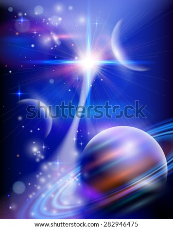Magic Space - Star Way - planets, stars and constellations, nebulae and galaxies, lights. Vector illustration / Eps10 - stock vector