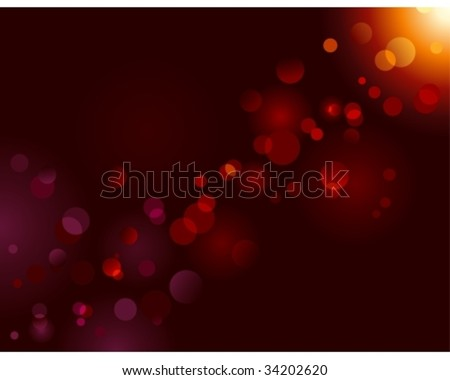 Magic sparkle, light dots on black background with copy space. Vector bokeh effect. Use of blends, no radial gradients. - stock vector