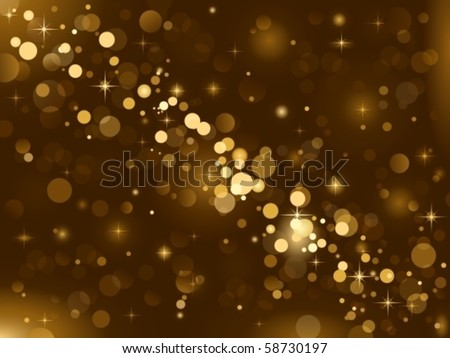 Magic sparkle, light dots on dark background with copy space. Vector bokeh effect. Use of radial and linear gradients.