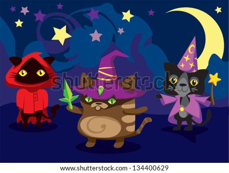 Magic Spell Cats Team / Set Nr. Three / Illustration of cat cartoon characters in wizard outfit clothes. Three unique colorful designs with various features. Playful, funny, childish, silly...
