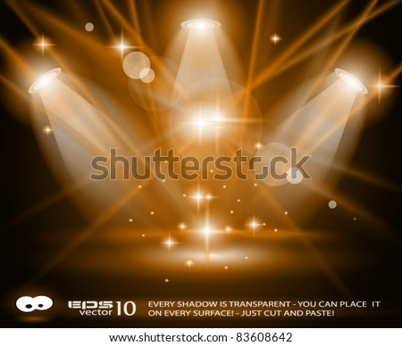 Magic Spotlights with GOLD rays and glowing effect for people or product advertising - stock vector