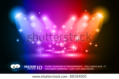 Magic Spotlights with Rainbow Colours and glowing effect for people or product advertising. Every lights and shadow are transparent. - stock vector