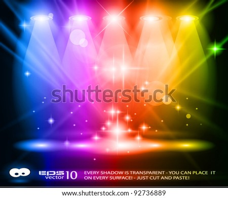 Magic Spotlights with Rainbow rays and glowing effect for people or product advertising. Every lights and shadows are transparent. - stock vector