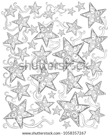 Magic Stars Coloring Book Antistress Coloring Stock Vector ...