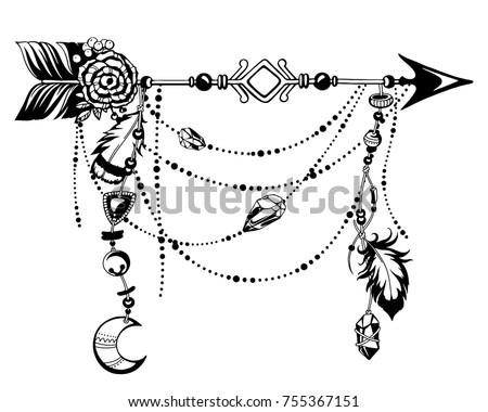 Magic Symbolic Art Boho Style Black Stockvector 755367151 Shutterstock