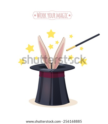 Magic top hat with rabbit. Vector illustration.