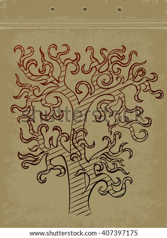 Magic Tree drawn in vintage cardboard sketchbook. Linear gradient vector sketch. Stylized tree without leaves drawing on grungy page. - stock vector