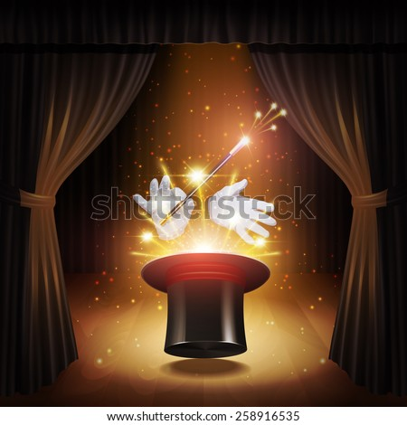 Magic trick poster with realistic magician cylinder gloves and stick with curtains on background vector illustration - stock vector