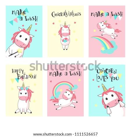 Magic unicorn birthday greeting cards vector stock vector royalty magic unicorn birthday greeting cards vector hand drawn illustration happy birthday card templates for m4hsunfo