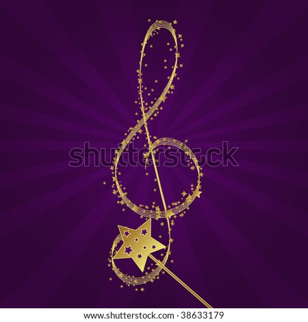 Magic wand forming a treble clef. - stock vector