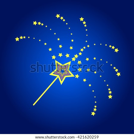 magic wand on blue background with diverging rays of the stars