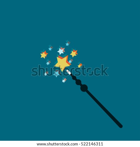 Magic Wand Vector illustration Magic wand with glowing stars on a blue background Flat design